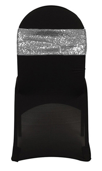 10 Pack Stretch Spandex Glitz Sequin Bands Silver on Black Chair Cover