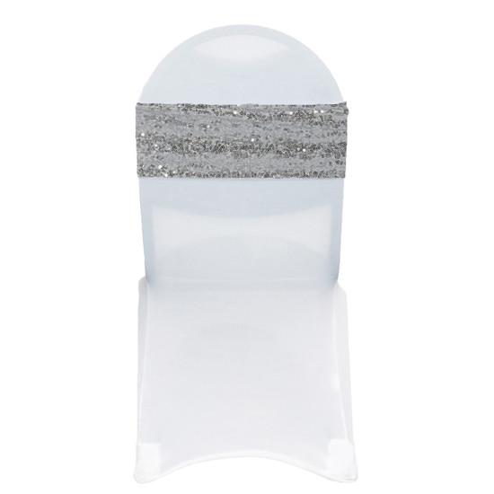 10 Pack Stretch Spandex Glitz Sequin Bands Silver