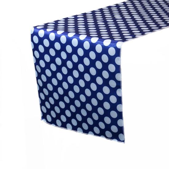 14 x 108 Inch Satin Table Runner Royal Blue/White Polka Dots