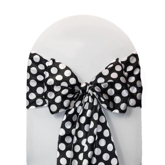 10 Pack Satin Sashes Black/White Polka Dots