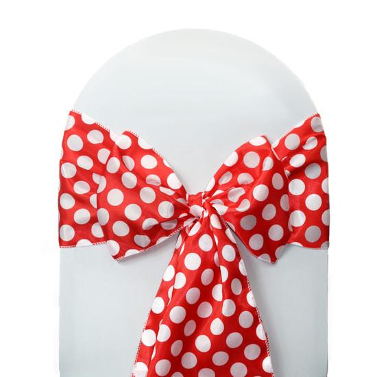 10 Pack Satin Sashes Red/White Polka Dots