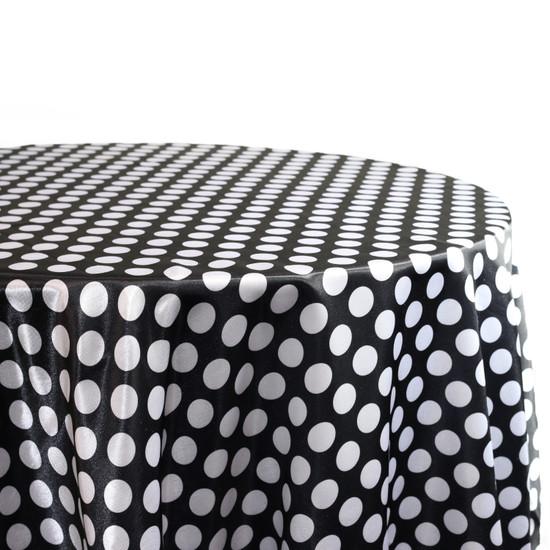 120 Inch Round Satin Tablecloth Black/White Polka Dots