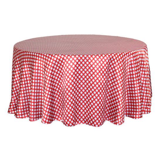 132 inch Round Satin Tablecloth Red/White Polka Dots