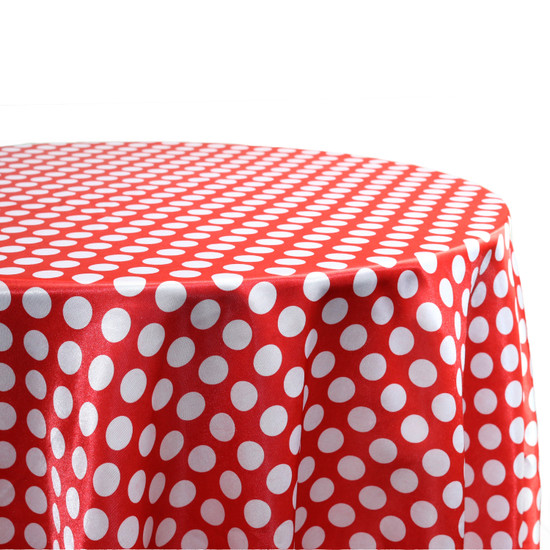 132 inch Round Satin Tablecloth Red/White Polka Dots For Wedding