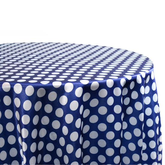132 inch Round Satin Tablecloth Royal Blue/White Polka Dots For Weddings
