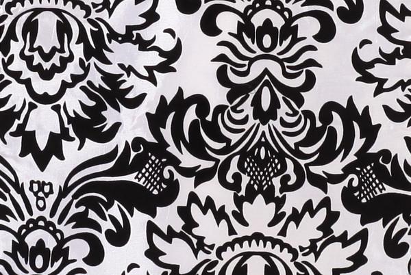 Damask Flocking Taffeta Sashes White and Black (Pack of 10)