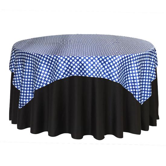 72 Inch Square Satin Table Overlay Royal Blue/White Polka Dots