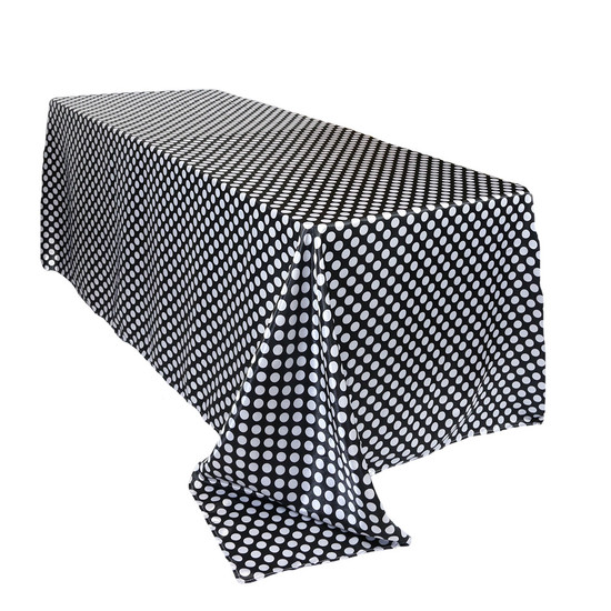 90 x 132 inch Rectangular Satin Tablecloth Black/White Polka Dots