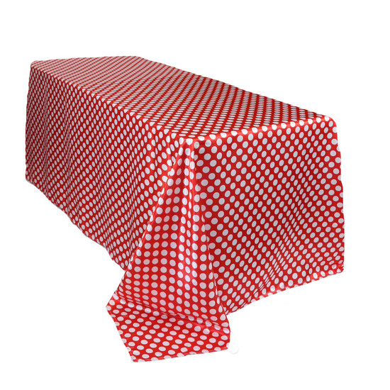 90 x 132 inch Rectangular Satin Tablecloth Red/White Polka Dots