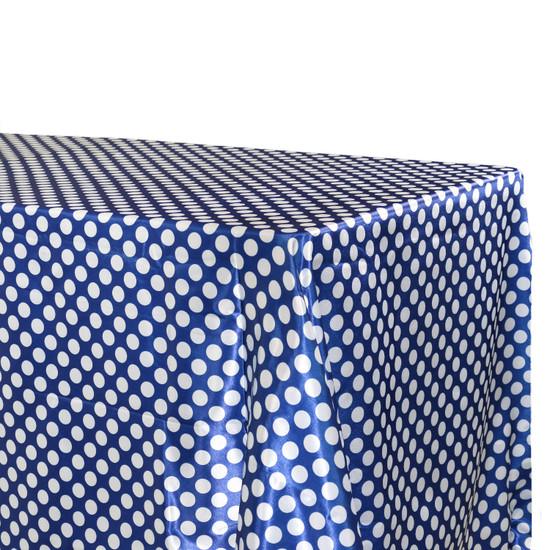 Tablecloth Royal Blue/White Polka Dots