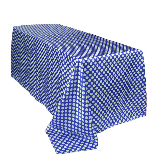 90 x 156 inch Rectangular Satin Tablecloth Royal Blue/White Polka Dots