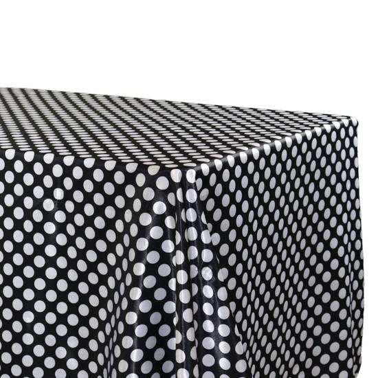 Satin Tablecloth Black/White Polka Dots