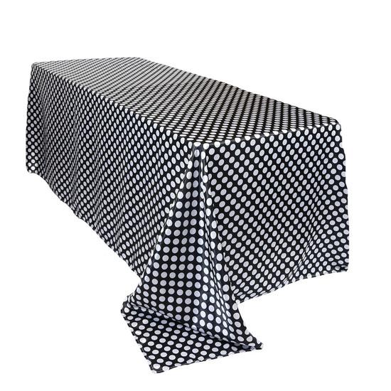 90 x 156 inch Rectangular Satin Tablecloth Black/White Polka Dots