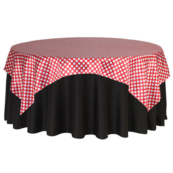 90 inch Square Satin Table Overlay Red/White Polka Dots