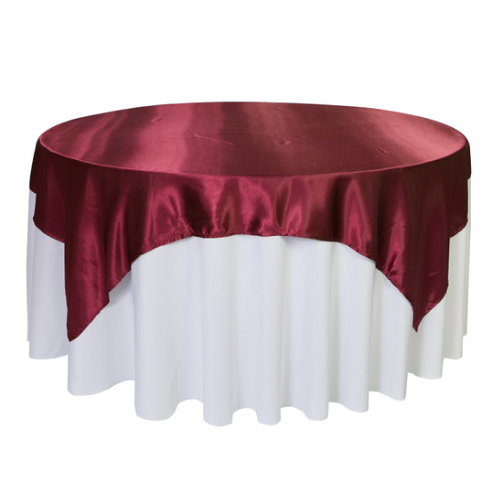 72 inch Square Satin Table Overlay Burgundy