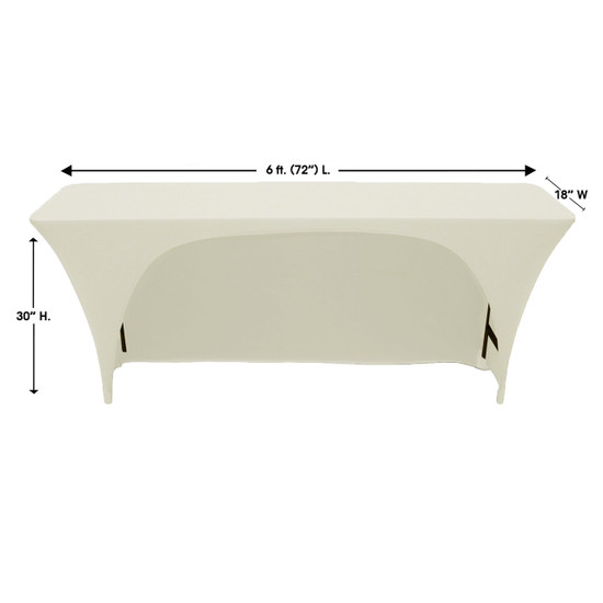 Stretch Spandex 6 ft x 18 Inches Open Back Rectangular Table Cover Ivory Dimensions