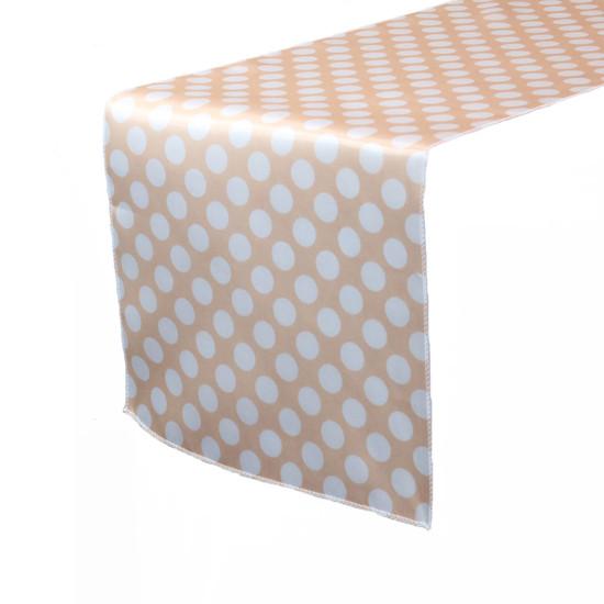 14 x 108 Inch Satin Table Runner Peach/White Polka Dots