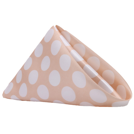 10 Pack 20 Inch Satin Cloth Napkins Peach/White Polka Dots