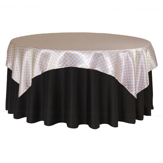 90 inch Square Satin Table Overlay Peach/White Polka Dots