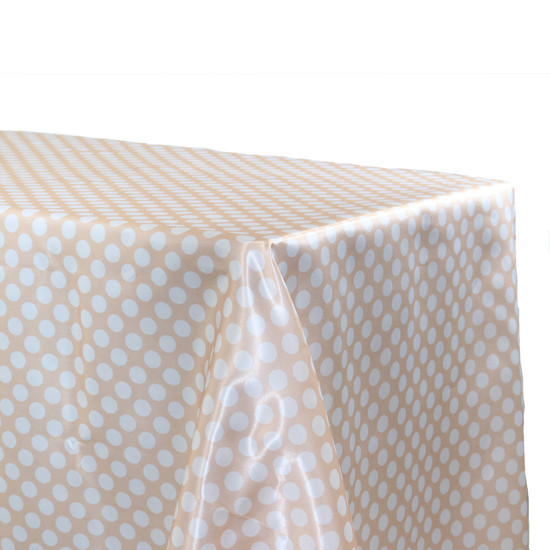 Satin Tablecloth Peach/White Polka Dots
