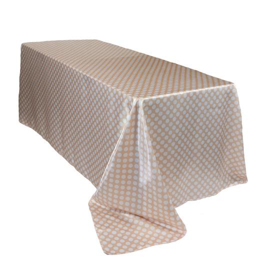 90 x 132 inch Rectangular Satin Tablecloth Peach/White Polka Dots