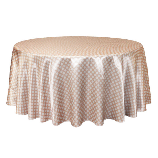 132 inch Round Satin Tablecloth Peach/White Polka Dots