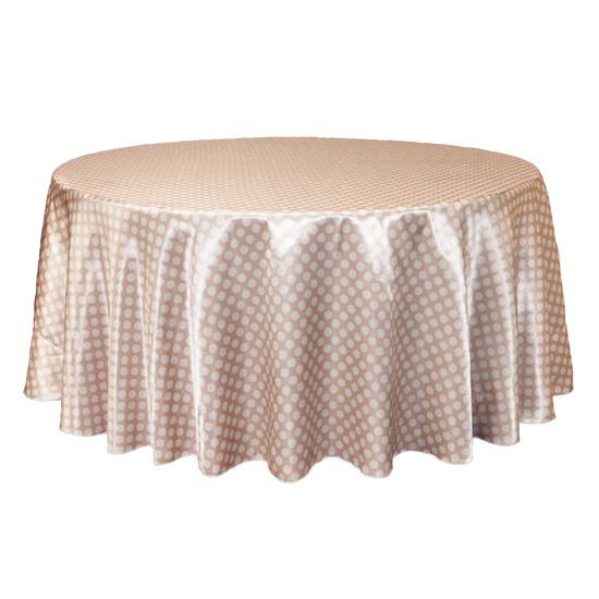 132 inch Round Satin Tablecloth Peach/White Polka Dots