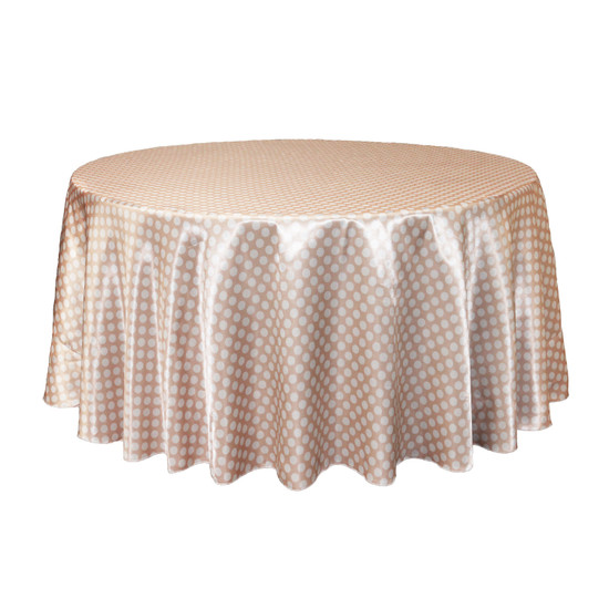 120 inch Round Satin Tablecloth Peach/White Polka Dots