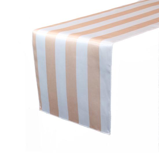 14 x 108 inch Satin Table Runner Peach/White Striped
