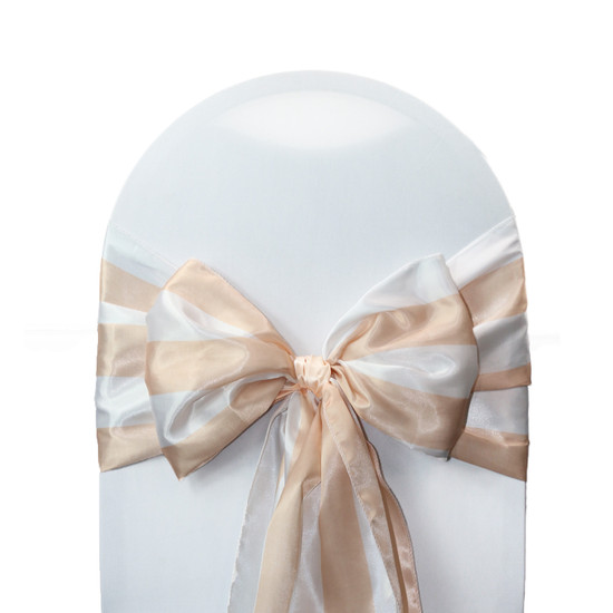 Satin Sashes Peach/White Striped (Pack of 10)
