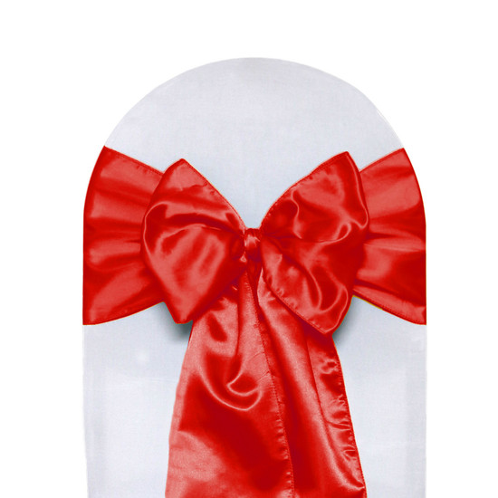 10 Pack Satin Sashes Red