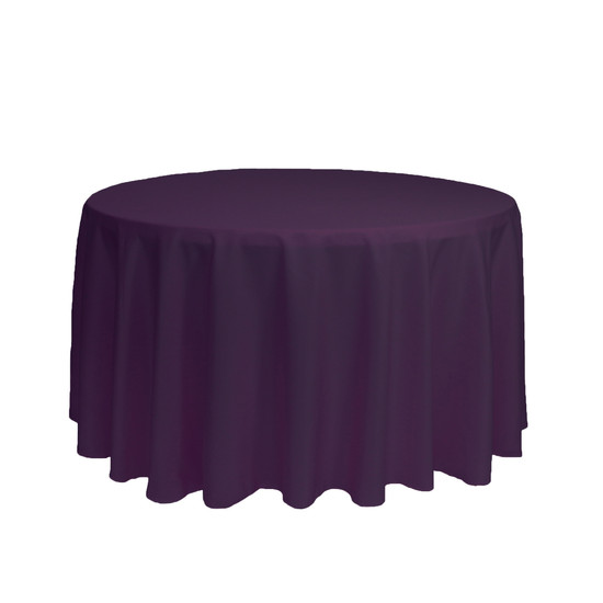108 Inch Round Polyester Tablecloth Eggplant