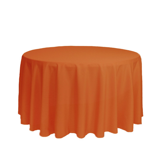 108 Inch Round Polyester Tablecloth Orange