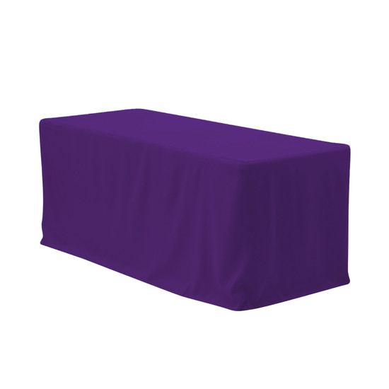 6 ft Fitted Polyester Tablecloth Rectangular Purple