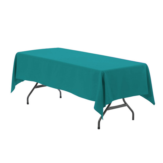 60 x 126 Inch Rectangular Polyester Tablecloth Teal