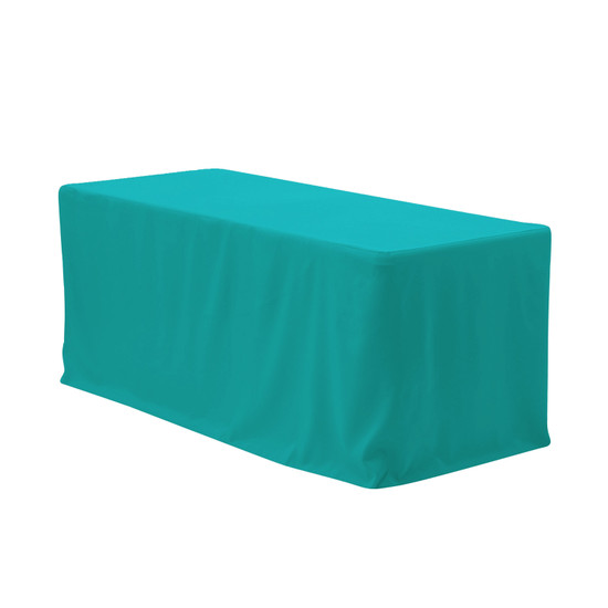 8 ft Fitted Polyester Tablecloth Rectangular Teal