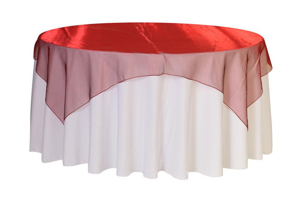72 inch Square Organza Table Overlays Burgundy
