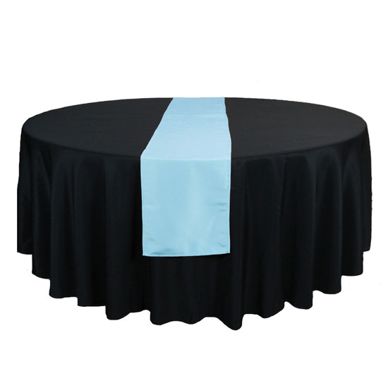 14 x 108 Inch Polyester Table Runner Light Blue on round table