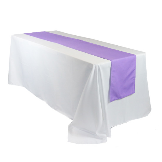 14 x 108 Inch Polyester Table Runner Lavender on rectangular table