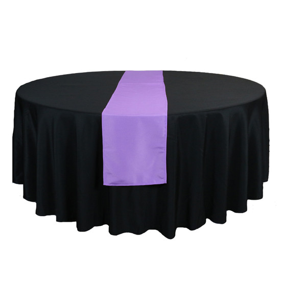 14 x 108 Inch Polyester Table Runner Lavender on round table