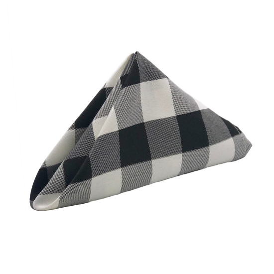 10 Pack 20 Inch Polyester Cloth Napkins Checkered Black