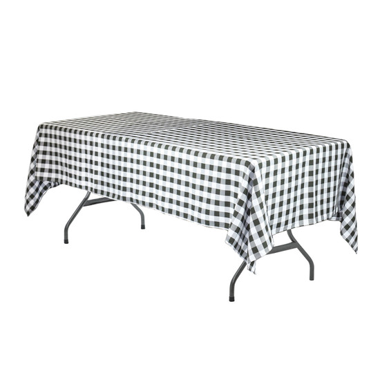 60 x 126 Inch Rectangular Polyester Tablecloth Checkered Black