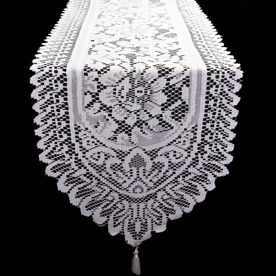13 x 108 Inch Crochet Lace Table Runner White