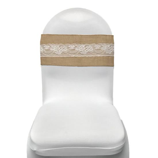 Front View lace burlap sash