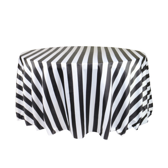 120 Inch Round L'amour Tablecloth Black/White Striped