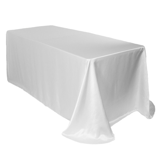 90 x 132 Inch Rectangular L'amour Tablecloth White