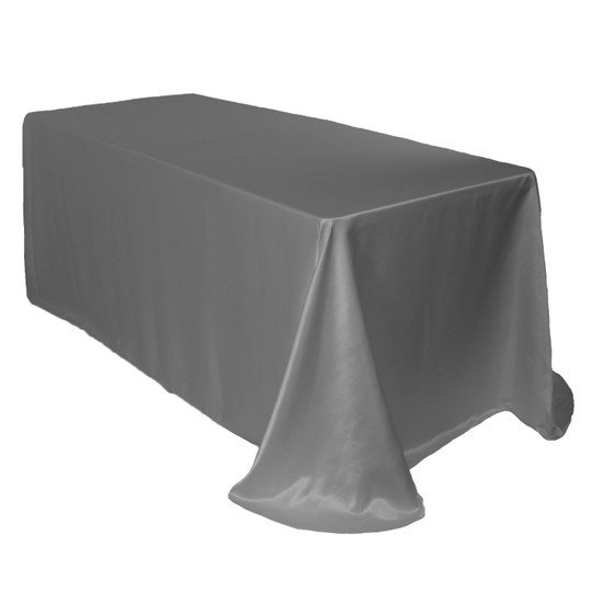 90 x 132 Inch Rectangular L'amour Tablecloth Dark Silver