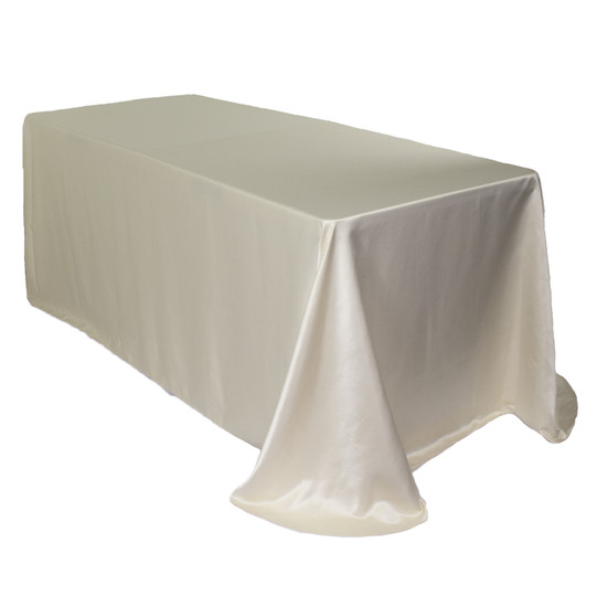 90 x 156 Inch Rectangular L'amour Tablecloth Ivory