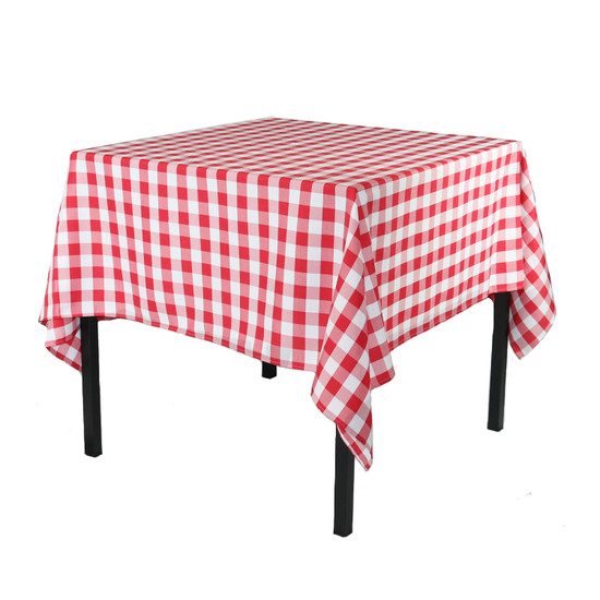 84 x 84 Inch Square Polyester Tablecloth Checkered Red