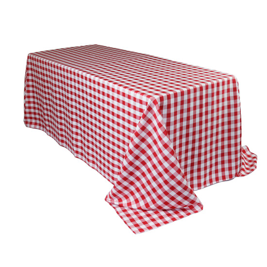 90 x 132 Inch Rectangular Polyester Tablecloth Checkered Red